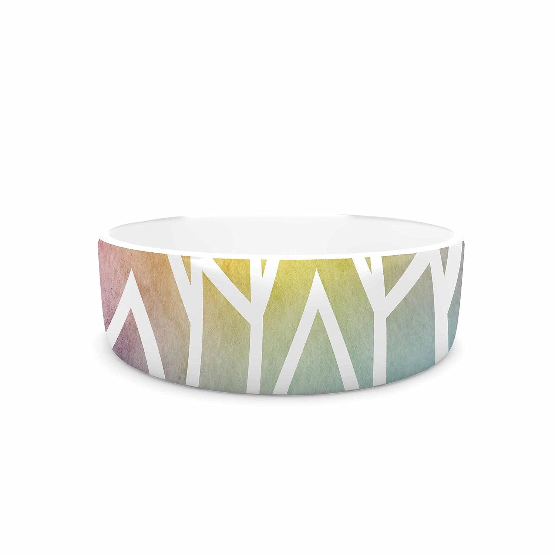KESS InHouse Matt Eklund Shattering Rainbows Multicolor Abstract Pet Bowl, 7