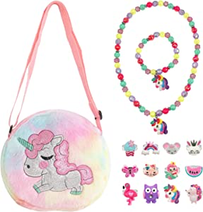 Elesa Miracle Little Girl Plush Purse Handbag Kids Necklace Pretend Play Toy Playset Jewelry Crossbody Purse for Children Toddler Baby Girls, Unicorn