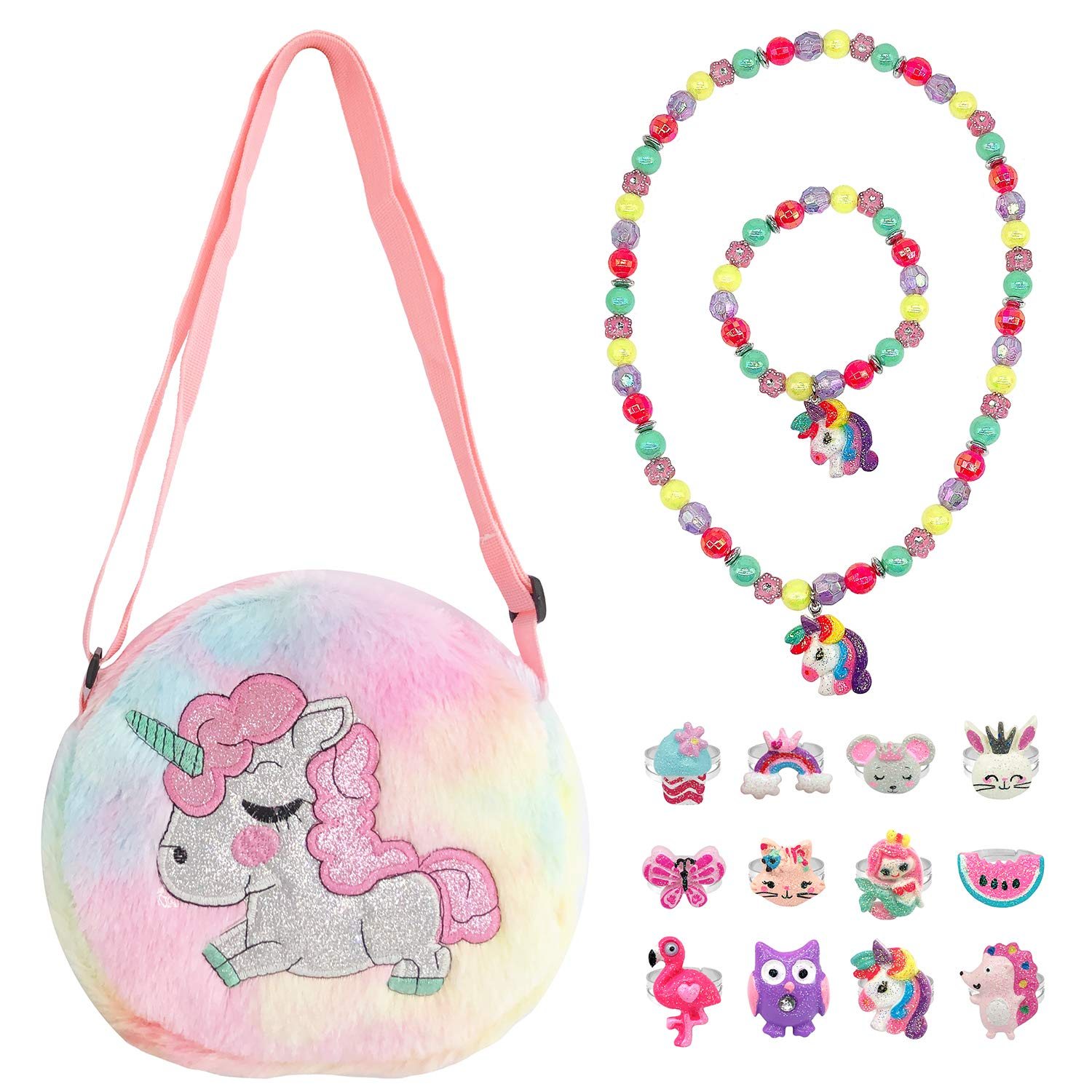 Elesa Miracle Little Girl Plush Purse Handbag Kids Necklace Pretend Play Toy Playset Jewelry Crossbody Purse for Children Toddler Baby Girls, Unicorn by Elesa Miracle