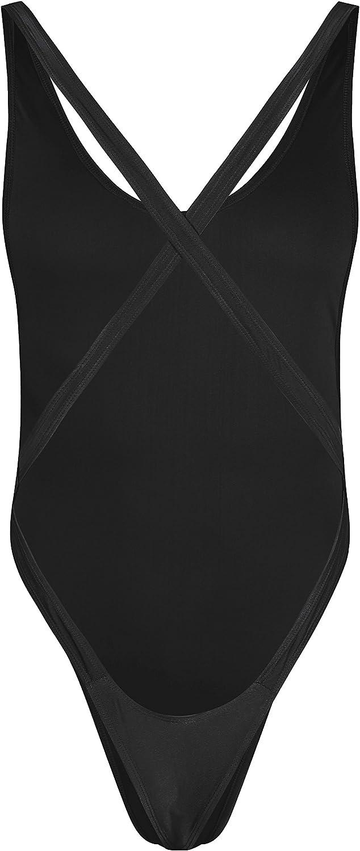 iEFiEL Mens Sissy Lingerie Criss-Cross Backless Thong Leotard Top High Cut Bodysuit Underwear