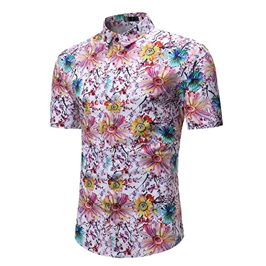 33d9a028a5b10e Man Fashion Floral Printed Blouse Casual Short Sleeve Slim Fit Shirts Polo  Tops (USXS