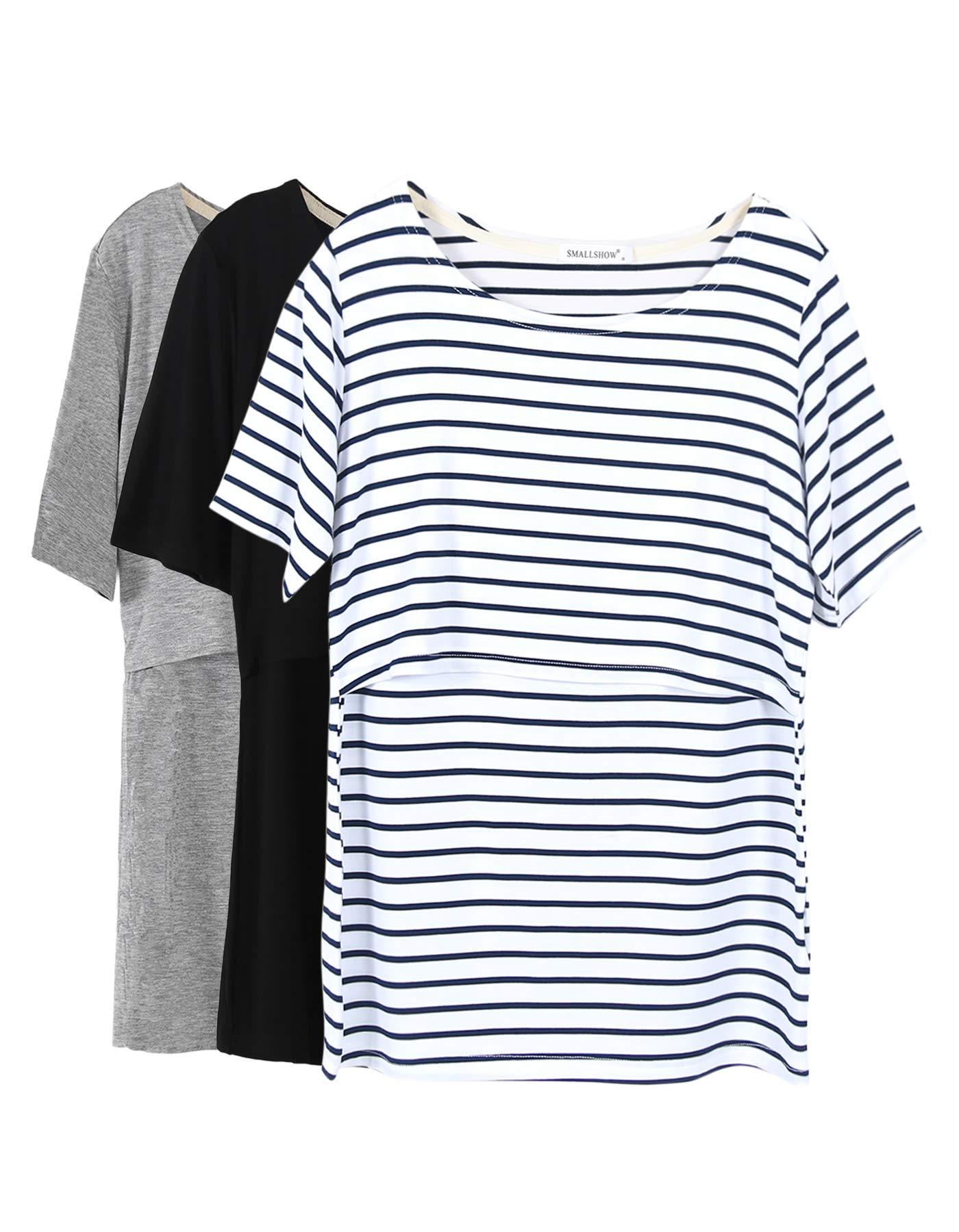 Smallshow 3 Pcs Maternity Nursing T-Shirt Nursing Tops White Stripe-Black-Grey Medium by Smallshow