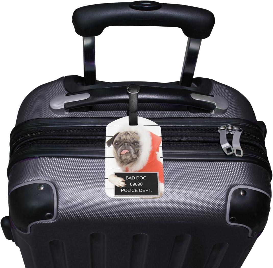Chen Miranda Mugshot Pug Travel Luggage Suitcase Label Tag PU Leather for Baggage 1 Piece