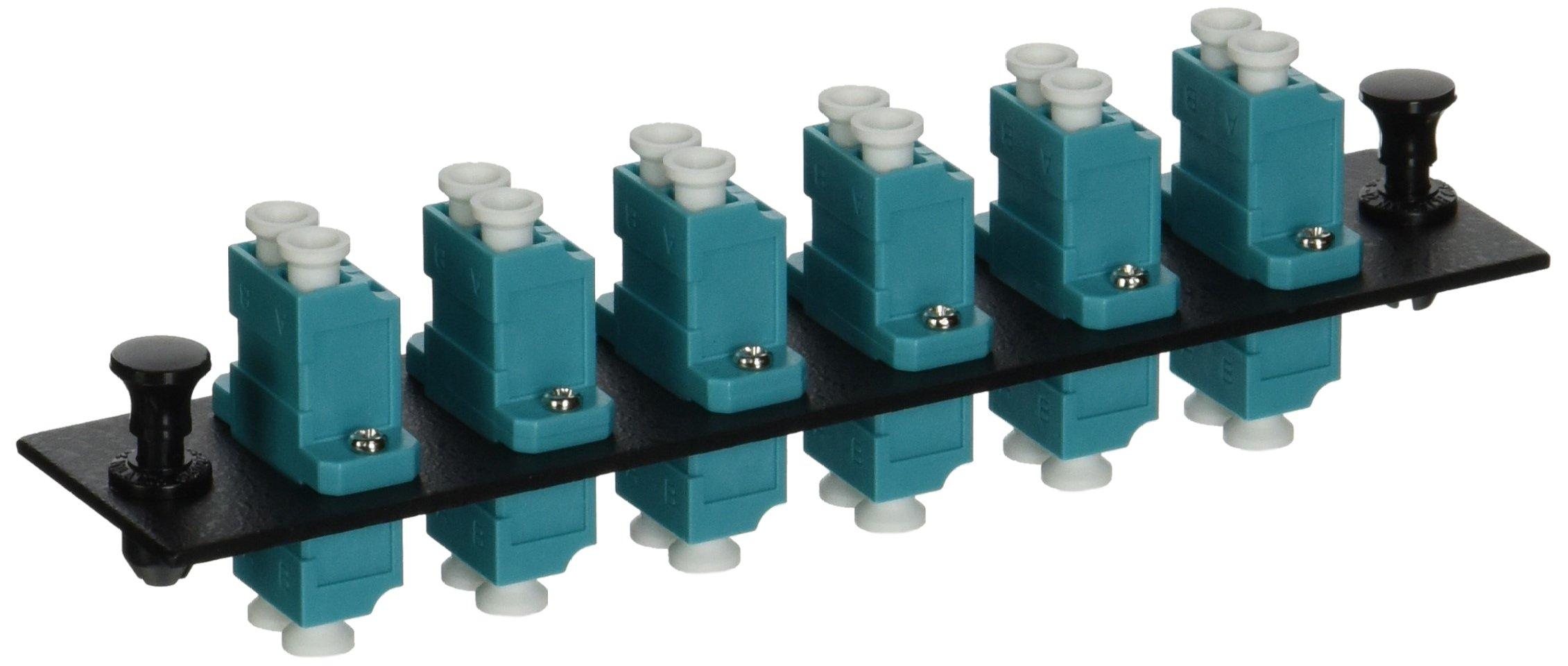 Hubbell HUBFSPLCDM6AQ Adapter Panel, 12-Fiber, 6 LC Duplex, Phosphor Bronze, Aqua