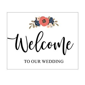 Amazon Welcome To Our Wedding Sign Blush Pink And Navy Blue