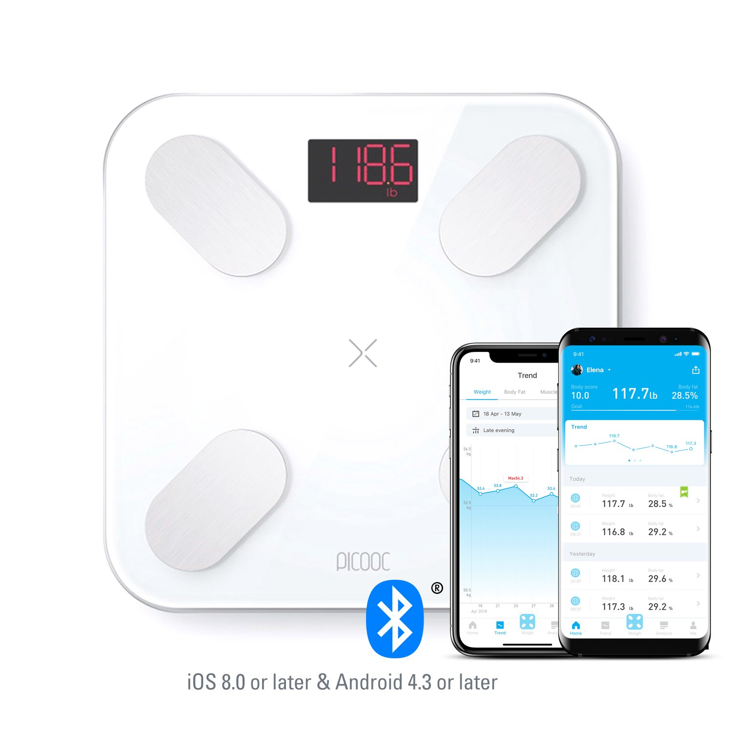 PICOOC MINI PRO Bluetooth Smart Body Fat Scale, Wireless Digital Bathroom Scale with IOS & Android App, Body Composition Monitor, 13 Measurements for Body Weight, Body Fat, BMI, Muscle and More, White