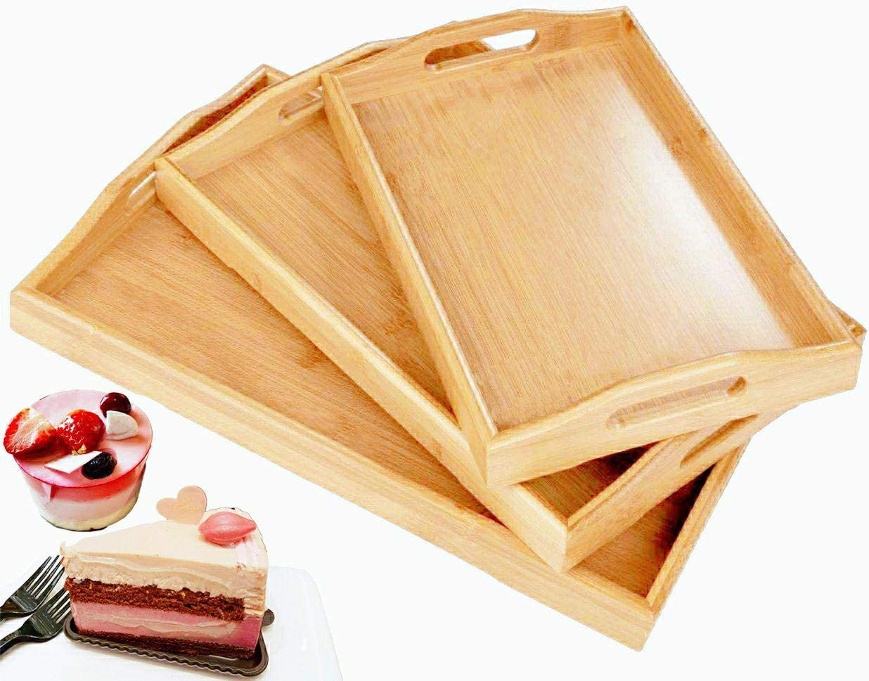 Serving Tray with Handles, Wood Serving Tray, Bamboo Serving Tray for Ottoman, Food, Breakfast, Dinner, Coffee Table, Party, Restaurants, Decor Set of 3