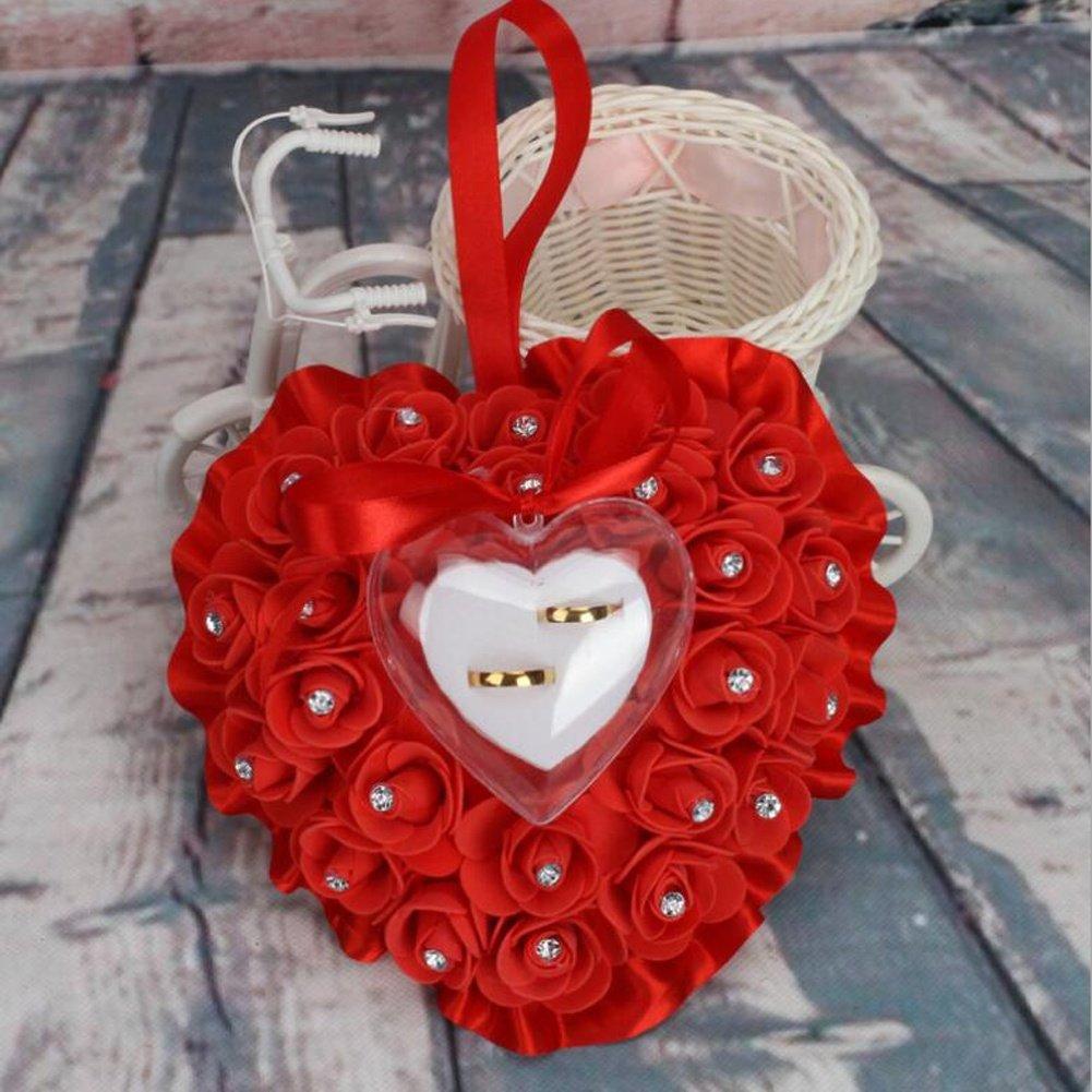 bpblgf Punta Forma de Corazón Rose Arco Anillo de Caja Cojín, Azul, 17 * 16cm: Amazon.es: Hogar