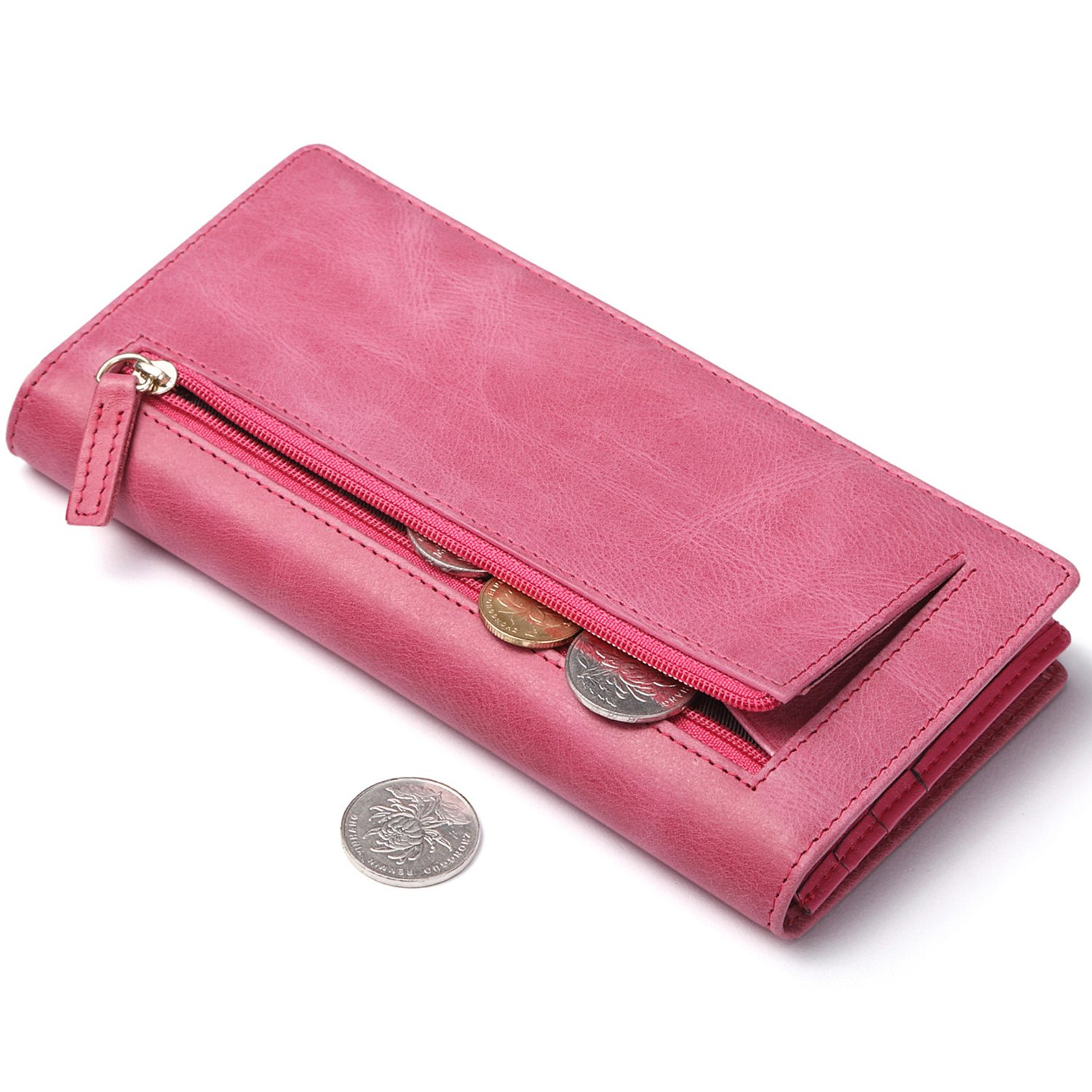 Huztencor Slim Womens Walllets RFID Blocking Bifold Multi Credit Card Holder Card Case Long Thin Wallet for Women with Zipper Pocket Pink