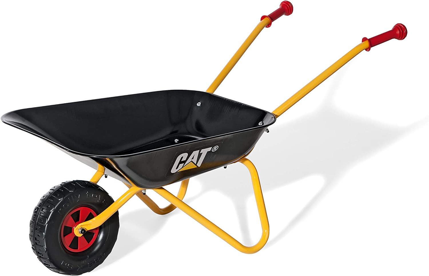 Rolly CAT Kids Wheelbarrow Ride On - Rust-Resistant Seamless Steel Tub with Rubber Hand Grips
