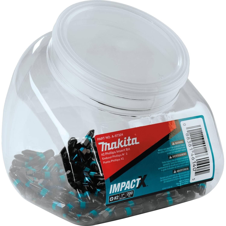 Makita A-97324 Impactx 2 Phillips 1″ Insert Bit, 200 Pack, Jar by Makita