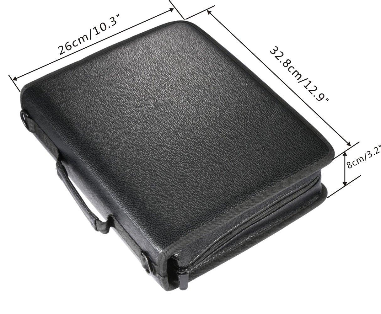 Utro - Estuche de piel sintética de gran capacidad, con cremallera y correa ajustable, funda con 180 ranuras para lápices de colores, bolso para accesorios ...