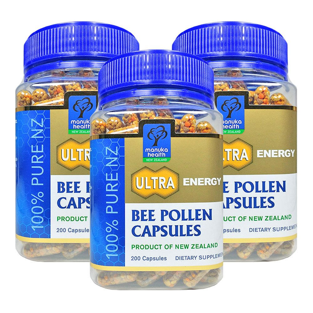 Manuka Health Bee Pollen 500mg 200 Capsules 100% Pure New Zealand Bee Pollen Natural Multi-vitamin & Mineral Supplement (Pack of 3)