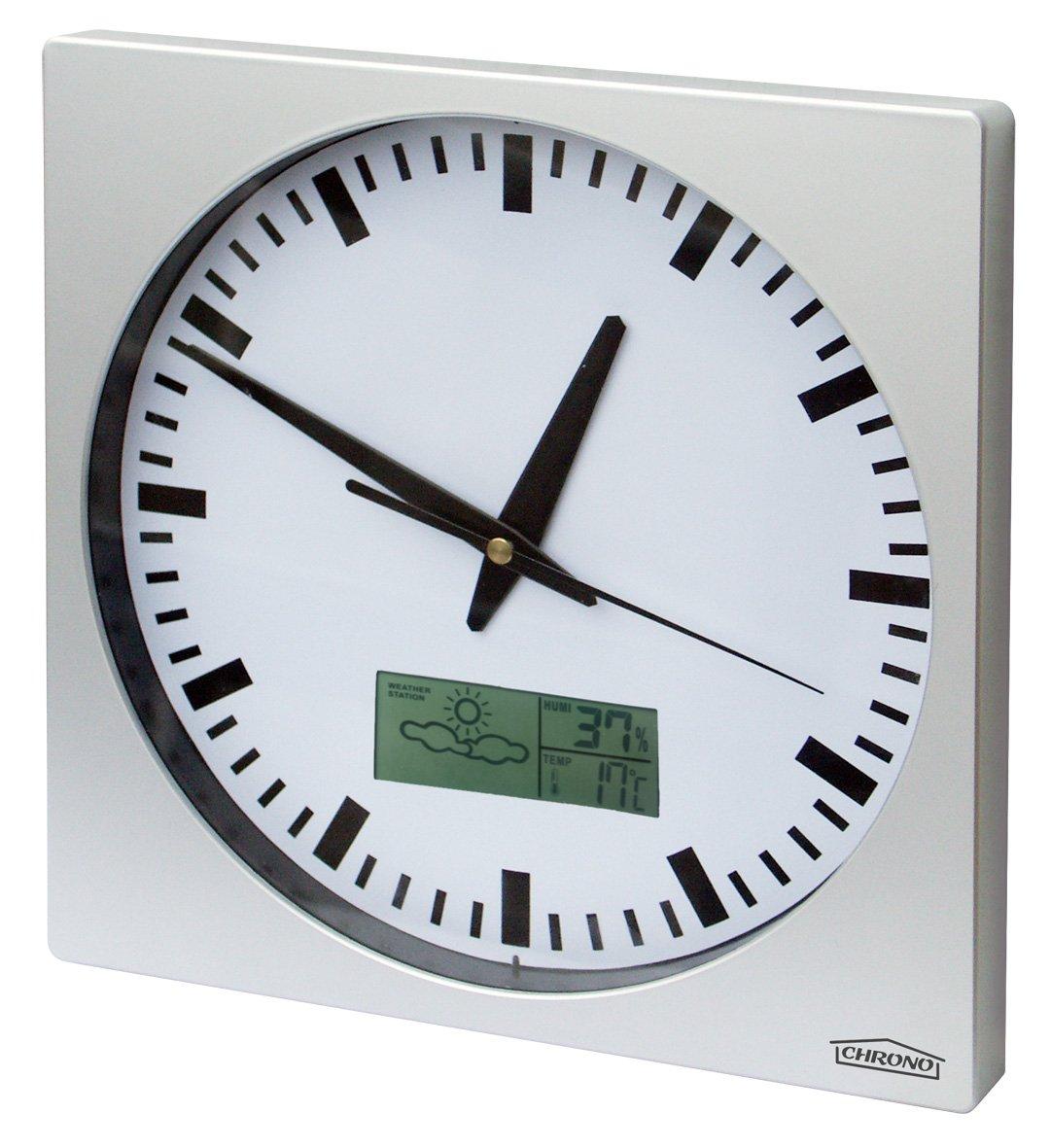 Cadre en Aluminium Bross/é 25cm x 25cm Thermom?tre Horloge Murale avec le Dateur Barom?tre CHRONO ZP1 Pr/évisions M/ét/éo
