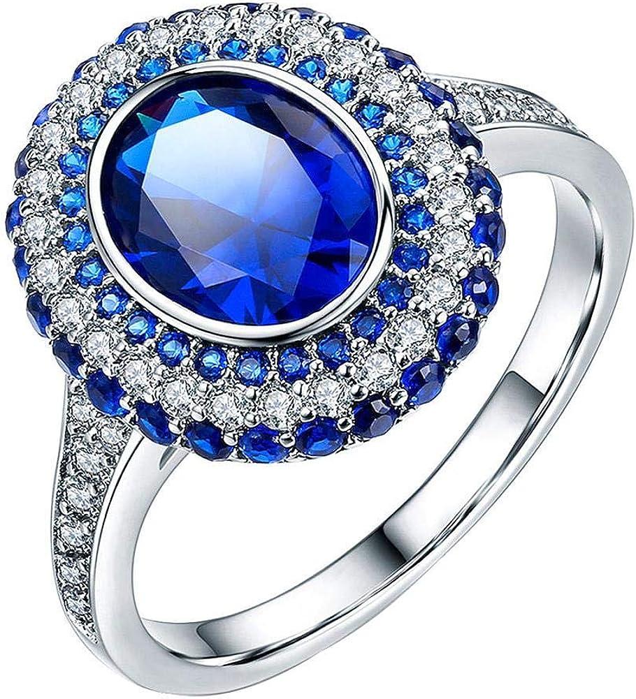 Kecream Anillo De Mujer, Anillo De Diamantes Y Piedras Preciosas Retro, Estilo: Anillo De Diamantes Azul Zafiro