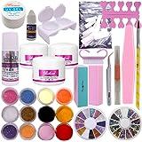 Warm Girl Full Acrylic Powder Liquid French Nail Art Brush Glue UV Primer Tip Tool Kit Set