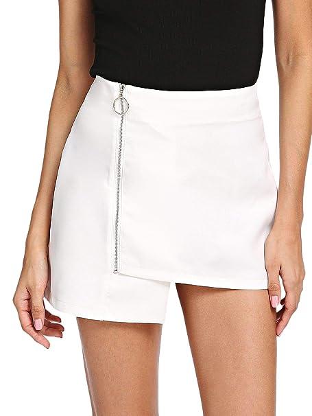 9319f57069 SheIn Women's Casual Asymmetrical Hem Mid Waist Zip Up A Line Skirt Small  White