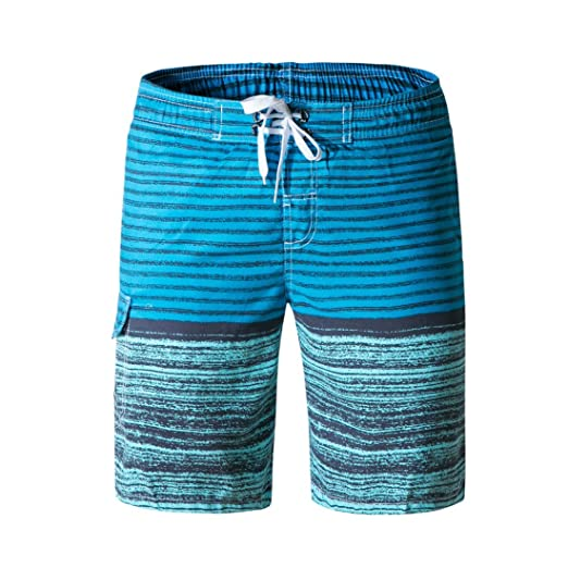 e9a1c59f4c58c LJCCQ Men's Swim Trunks Quick Dry Stripe Board Shorts with Pockets Swim  Shorts Beachwear with Drawstring