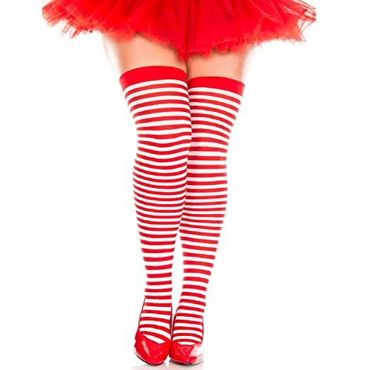 9364016fd Image Unavailable. Image not available for. Color  Music Legs Plus Size Red  and White Striped Thigh Highs ...