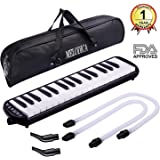 CAHAYA Melodica 32 Key FDA Approved Piano Style Portable Pianica with Double Plastic Flexible Long Pipe, Short Mouthpieces and Carrying Bag