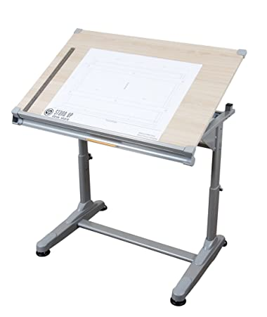 Stand Up Desk Store Height Adjustable Drawing and Drafting Table with 39.2 W x 27.5 D Surface, Silver Frame with Birch Top