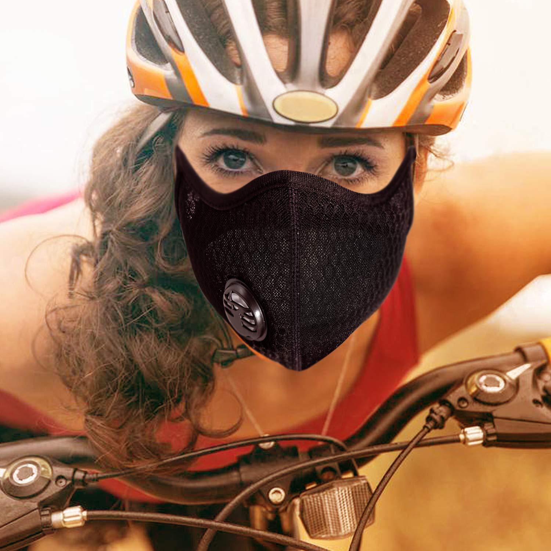 Azul 2pcs Gas de escape activado de la filtraci/ón de la m/áscara del polvo del polvo del carb/ón activado PM2.5 para correr actividades al aire libre y que completan un ciclo