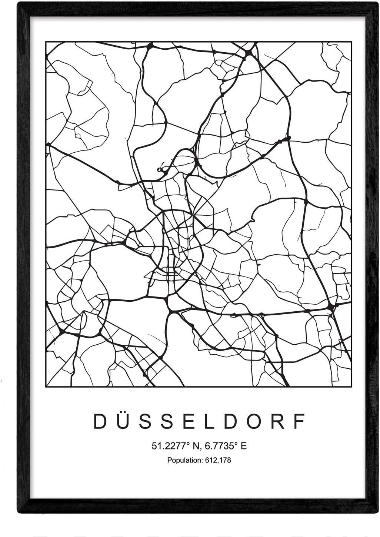Nacnic Lámina Mapa de la Ciudad Dusseldorf Estilo nordico en ...