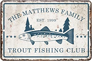 Pattern Pop Personalized Vintage Distressed Look Trout Fishing Club Metal Room Sign