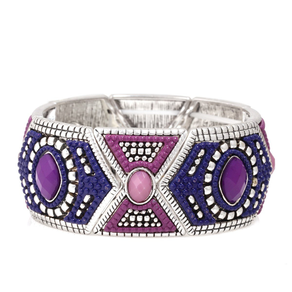 Jewlery11 Silver-Tone Metal Blue and Purple Stretch Indian Bracelet Gift For Her
