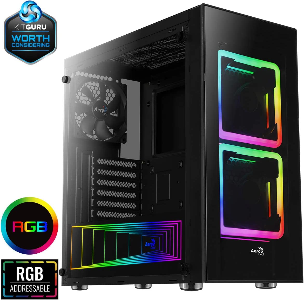 Aerocool Tor Mid-Tower RGB PC Gaming Case, ATX, Addressable RGB Plate, 10-Port Fan Hub with PWM, 2 x 140mm Dual Square Ring RGB LED Fans Included, Build Your Legacy | Black