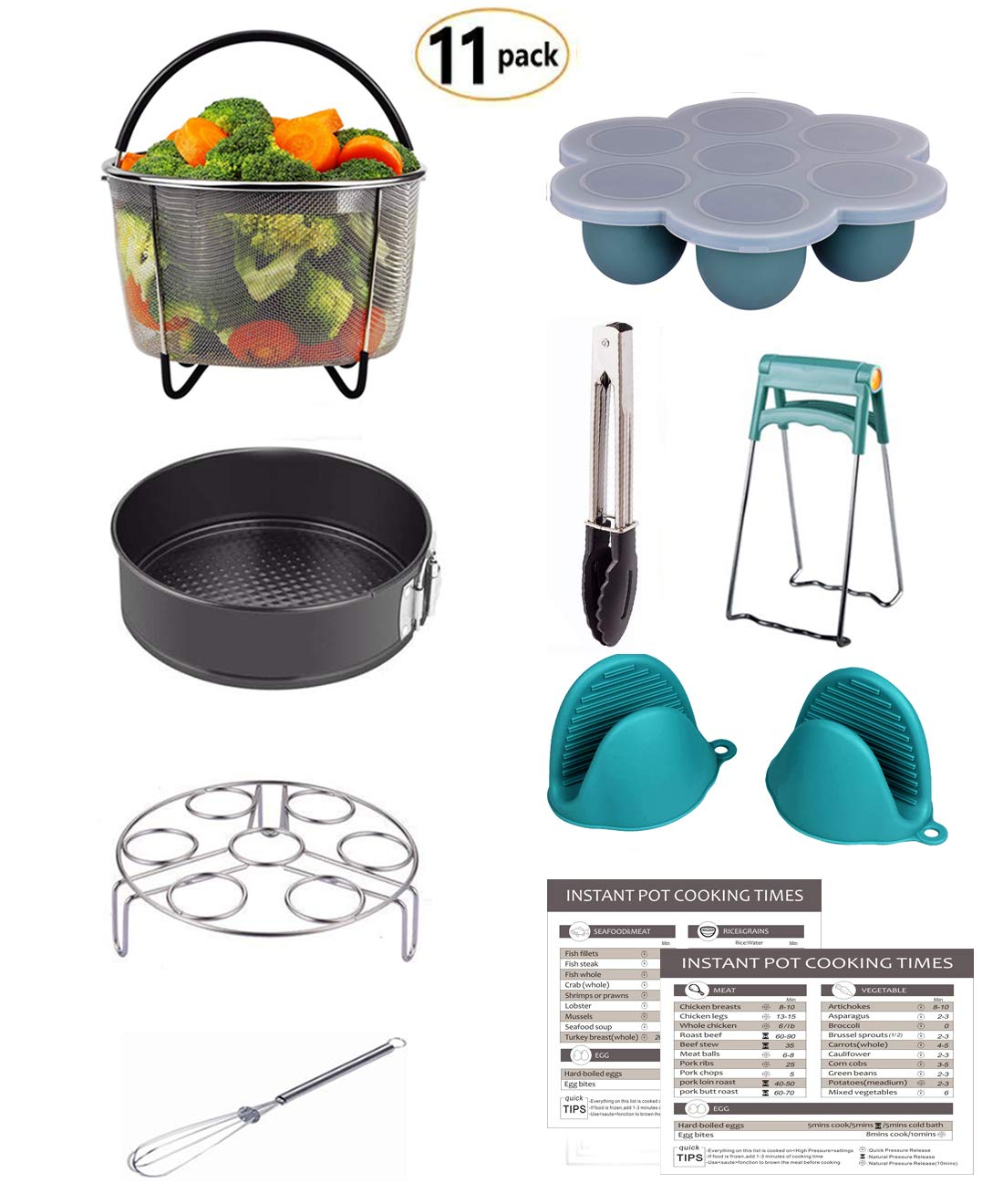 Mery Instant Pot Accessories Set Fits 6,8Qt Pressure Cooker 11-PCS Steamer Basket, Rack, Egg Bites Molds, Springform Pan, Tongs, 2 Magnetic Cheat Sheets