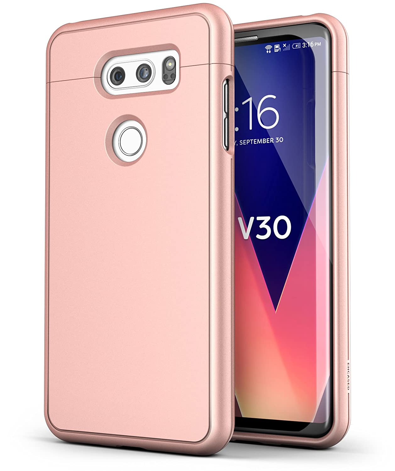 newest collection f9f25 aac75 LG V30 Case Rose Gold - Encased [SlimShield Edition] Slim Full Coverage  Protective Grip Phone Cases