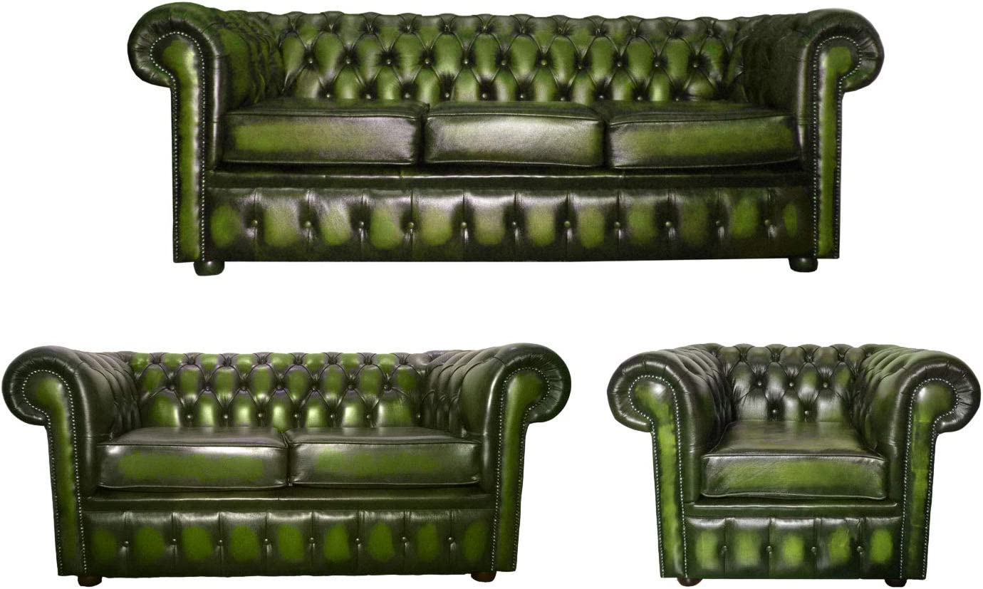 - CK Chesterfield 100% Genuine Leather 3+2 Seater Sofas + Club Chair
