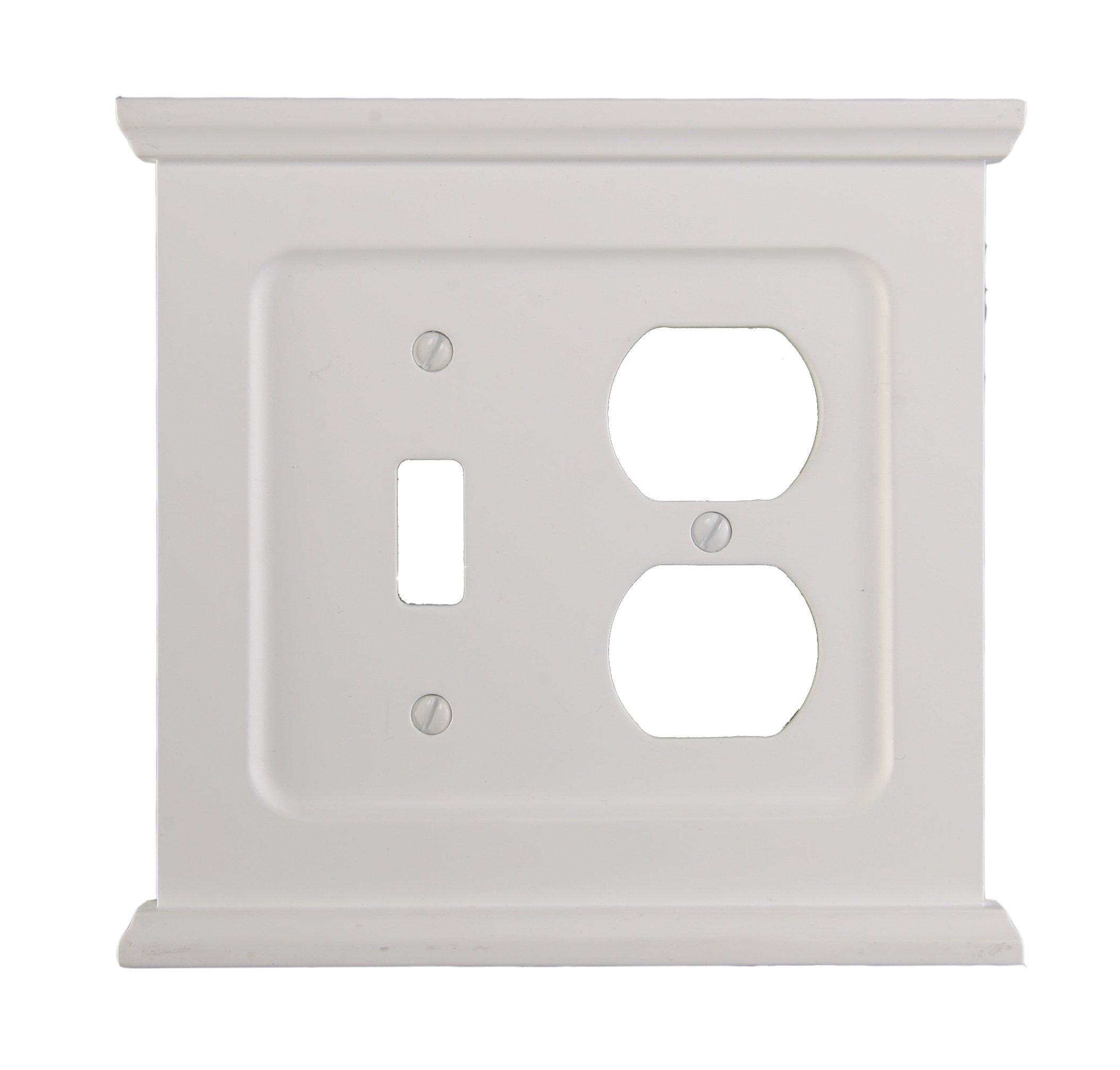 AmerTac SB178TDW Mantel Composite Wood Single Toggle/Single Duplex Wallplate, White