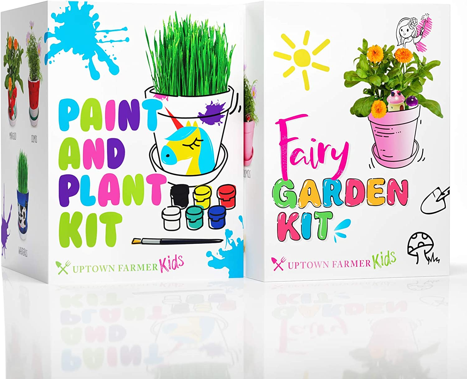 Uptown Farmer Bundle: Fairy Garden and Paint & Plant Kit - STEM Projects for Boys & Girls - Craft and Growing Kit for Kids