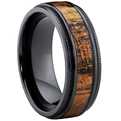Ultimate Metals Co. Dome Black Titanium Wedding Band Ring with Real Marble Brown Wood Inlay, Comfort Fit 8mm