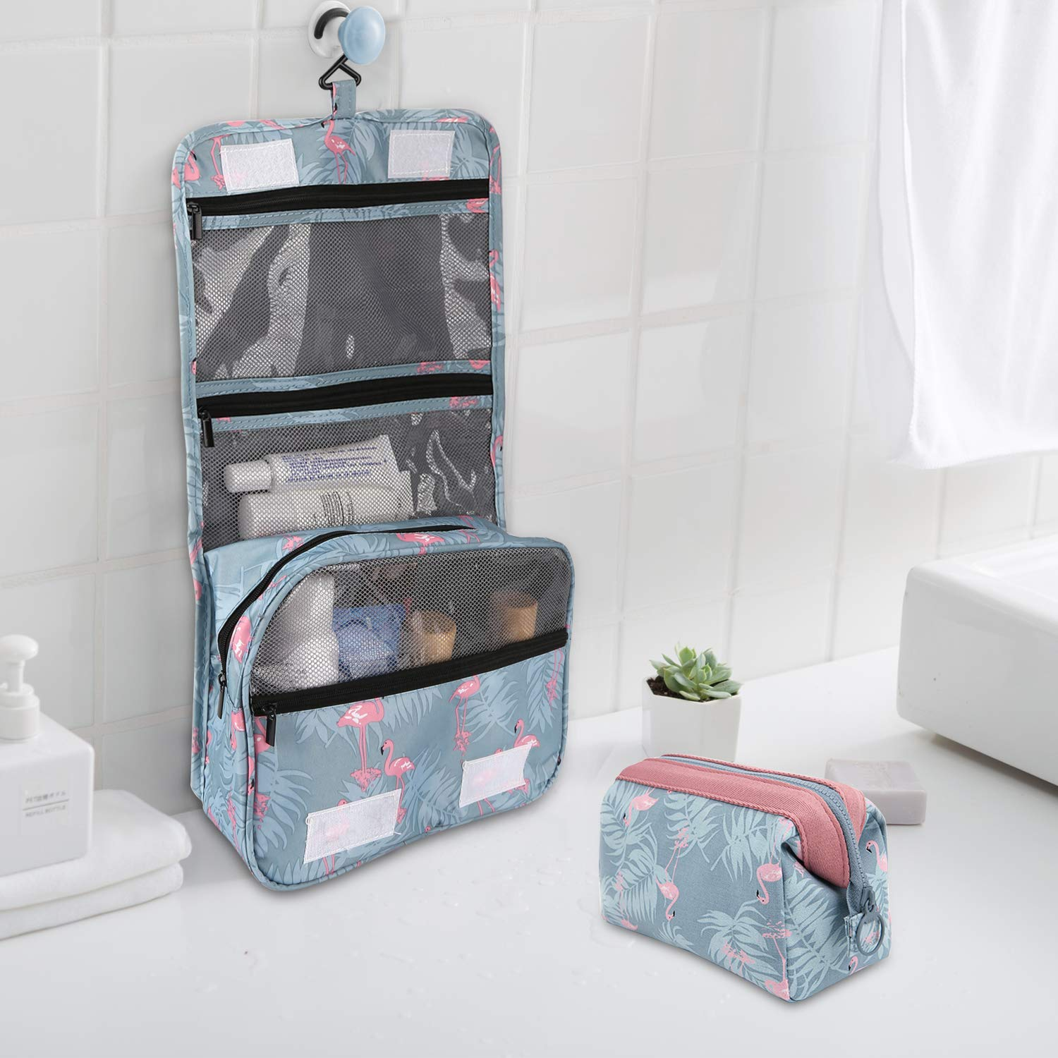 2 Pieces Toiletry Bag Multifunction Hanging Cosmetic Bag Portable Organizer Makeup Bags Pouch Large Capacity Waterproof Travel Bag for Women Girls Men