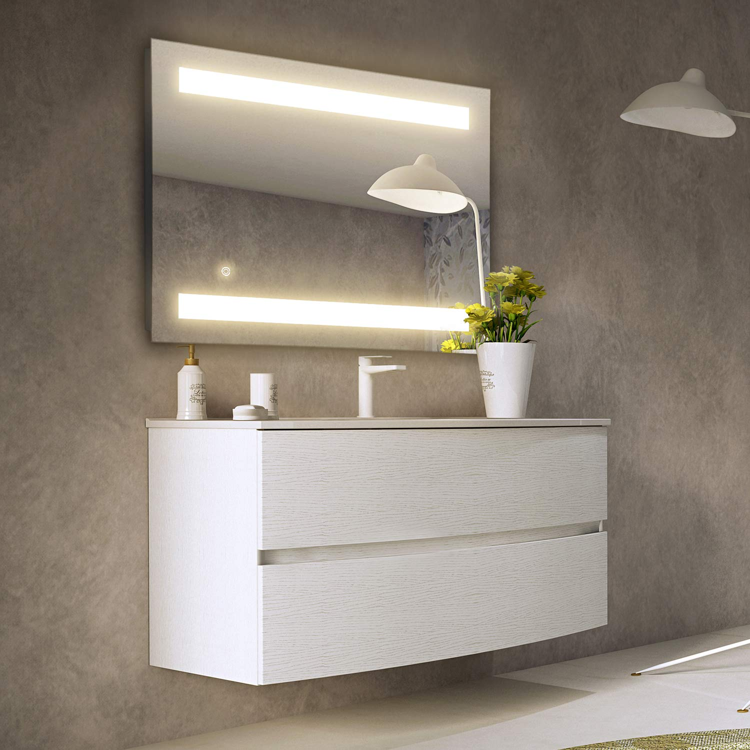 GETINLIGHT LED Wall Mounted Lighted Vanity Mirror, 3000K Soft White , ETL Listed, Damp Location Rated, IN-0405-2-24-30-3K
