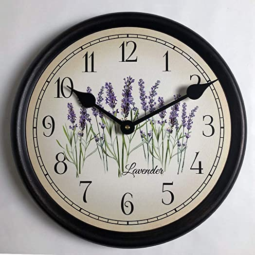 Lavender Wall Clock, Available in 8 Sizes, Most Sizes Ship The Next Business Day, Whisper Quiet.