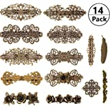 14 PCS Retro Vintage Metal French Barrette for Valentine's Day Gift, Kalolary Vintage Bronze Hair clips, Jewelry Accessory for Women Girls Hair Decoration