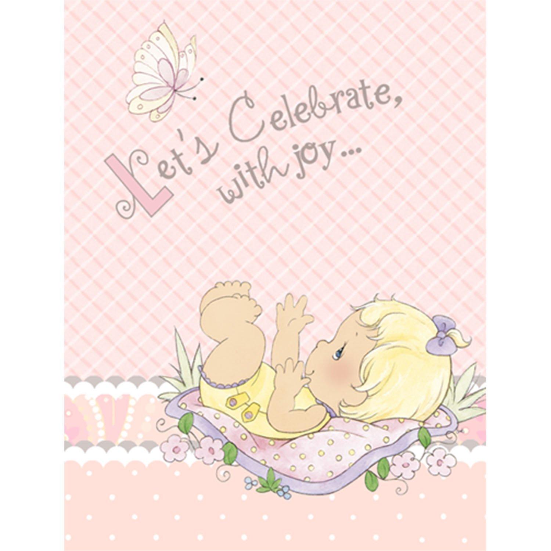 Amazon.com: Precious Moments Baby Shower Invitations - Baby Girl ...