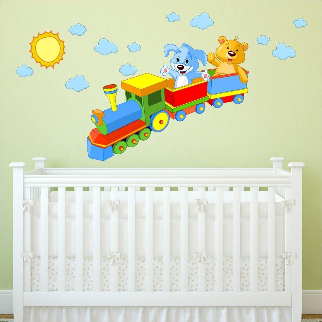 De juguetes para el de sol de nubes de Michelle de tren de vapor adhesivo de pared para la habitación del bebé diseño con texto en inglés adhesivo de pared y calcomanías