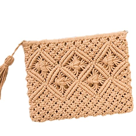 Bohemian Woven Tassel Hollow Beach Bag Crochet Tassels Clutch bolso de embrague Camel Color