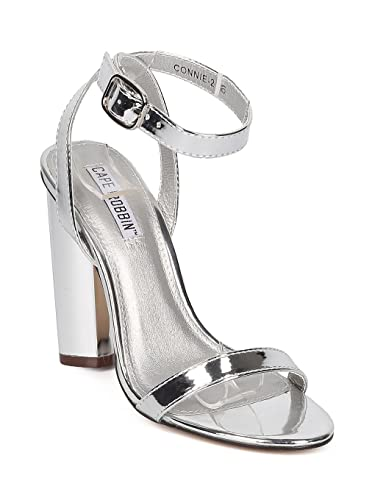 eed8695ca05d54 Cape Robbin Women Metallic Leatherette Open Toe Ankle Strap Block Heel  Sandal HJ24 - Silver Metallic