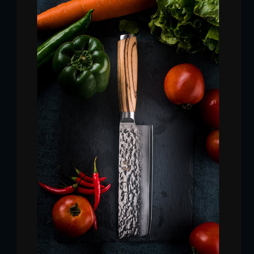 Chef Knife 6.5 inch Nakiri Knife Quality Damascus Steel Kitchen Knives, Razor Sharp Slicing Comfortable Handle Vegetable Cleaver with Gift Box by Xing YI(The Patterns of Natural Wood are Unique) by Xing Yi (Image #2)