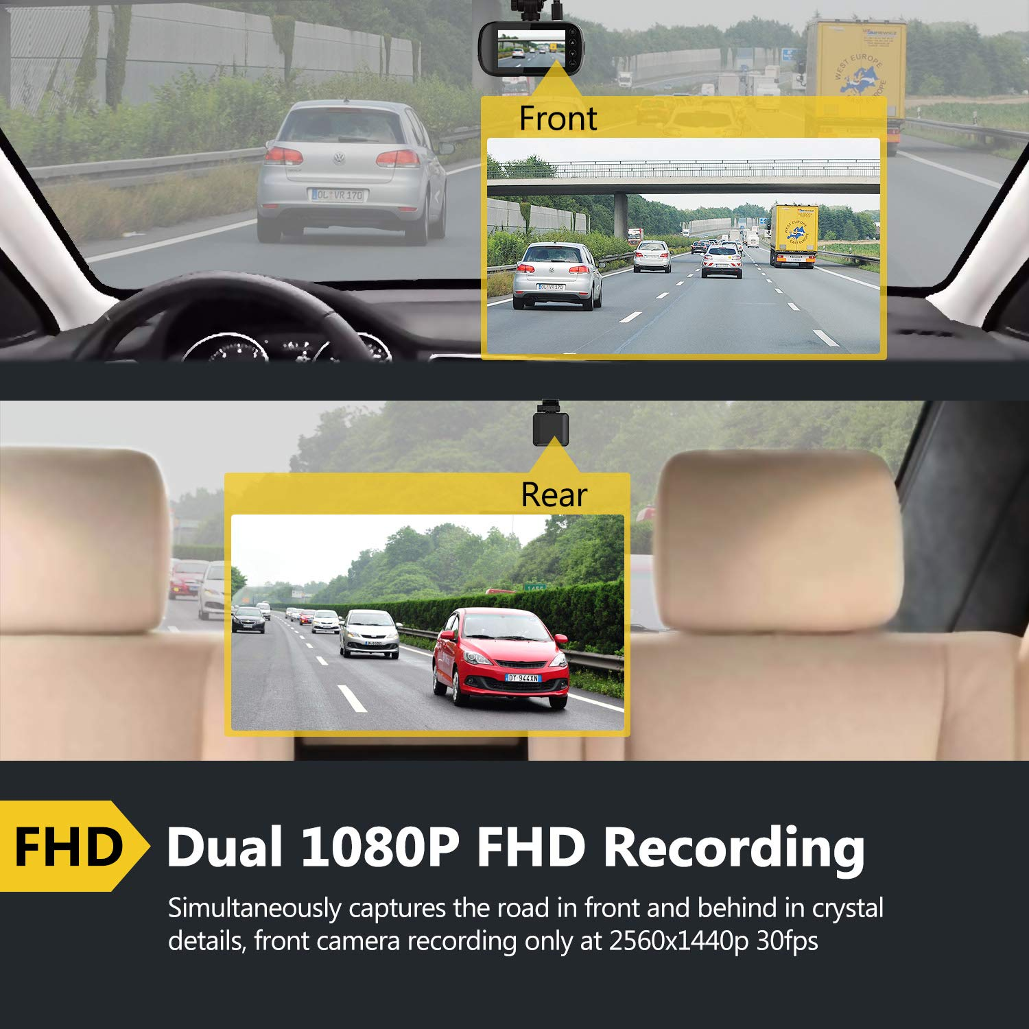 Z-Edge Z3D Dual Lens Dash Cam, 2.7'' Screen Ultra HD 1440P Front & 1080P Rear 150 Degree Wide Angle Front and Rear Dash Cam, Dashboard Camera with GPS, WDR, Low Light Vision, Parking Mode, G-Sensor by Z Z-Edge (Image #3)