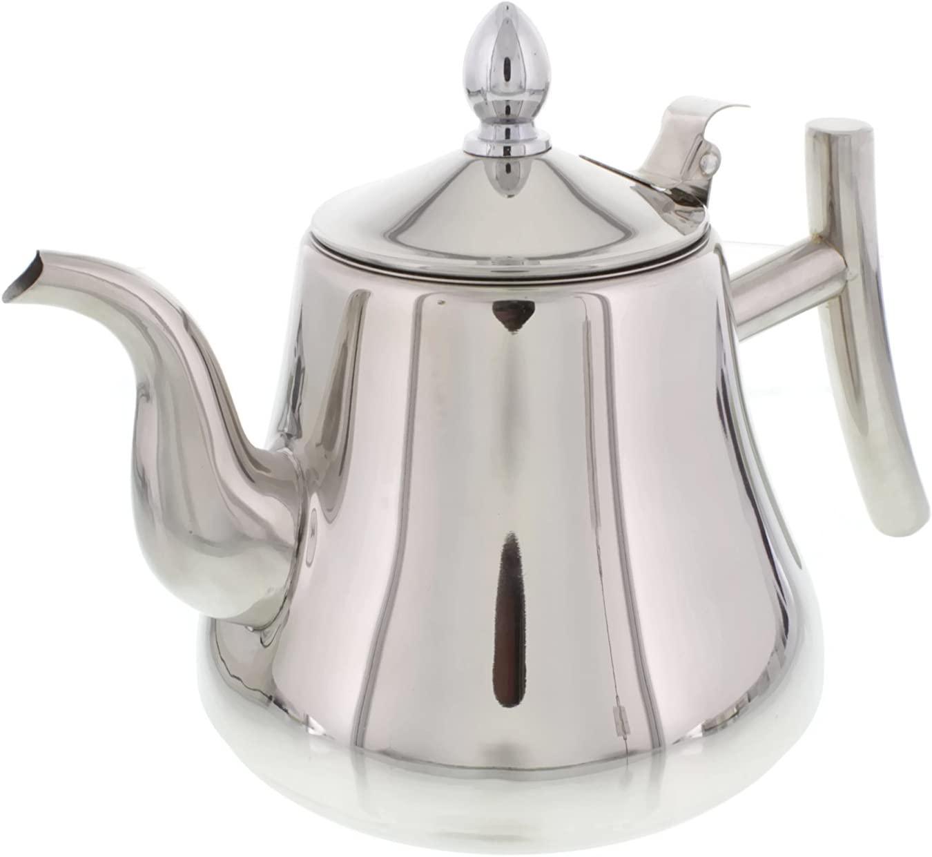 Cheftor 51-oz/1.5-Liter Polished Stainless Steel Teapot Kettle pot with Tea Infuser Filter for Home Kitchen, Restaurant or Office, Pointy shape