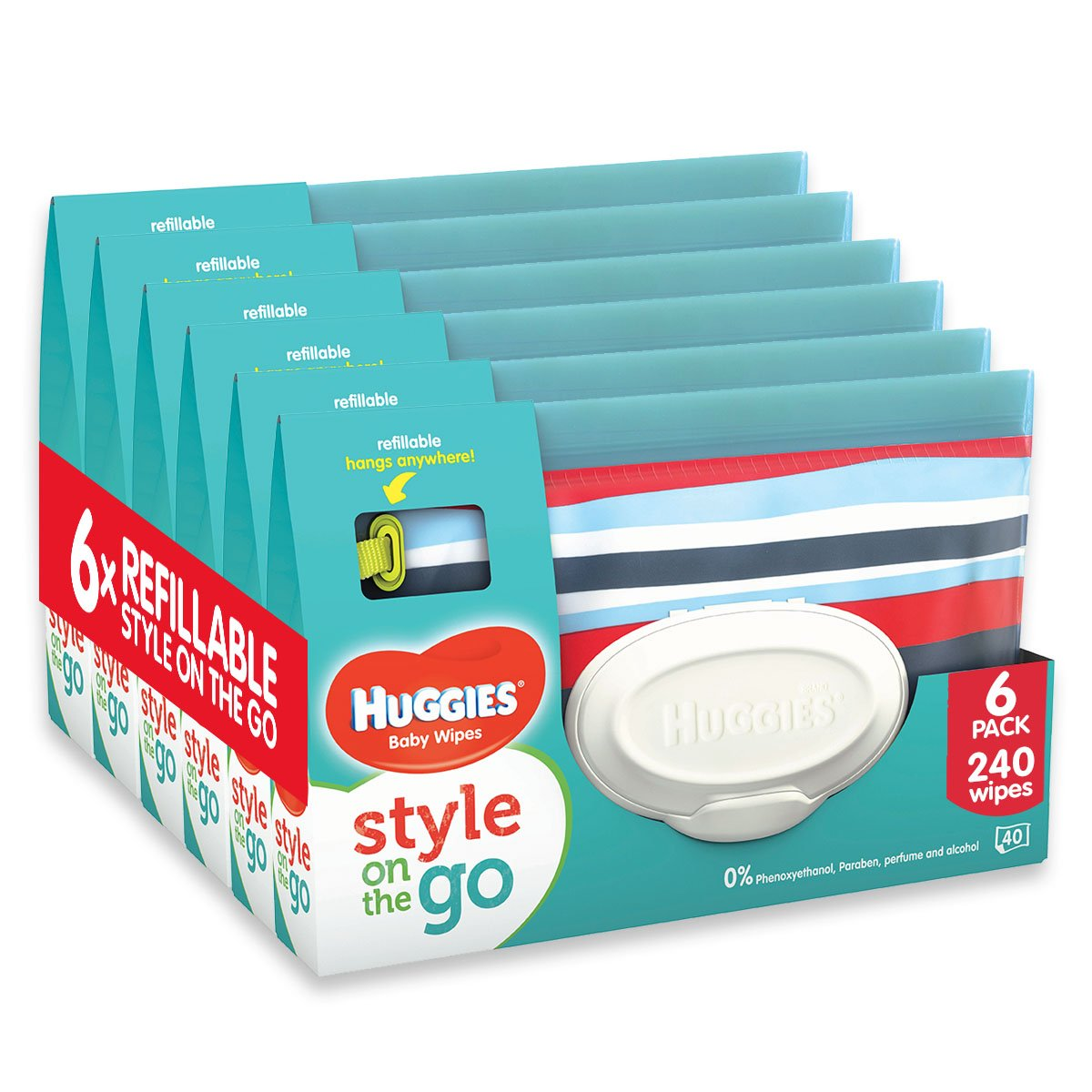 Huggies Style On The Go, 6 Pouches - 6 Refill Packs (240 Wipes Total) Kimberly Clark 2398240