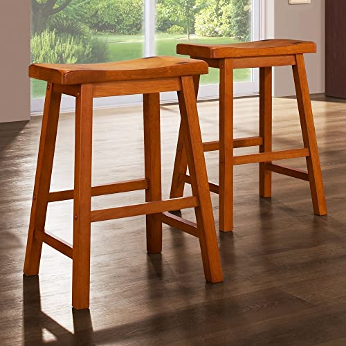 Weston Home 24 in. Saddle Back Stool - Oak - Set of 2