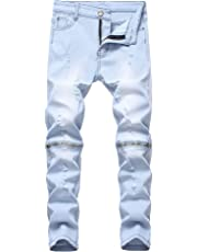 FREDD MARSHALL Boy's Slim Fit Skinny Ripped Distressed Zipper Jeans Pants with Holes